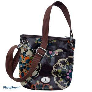 FOSSIL vintage keyper oilcloth doodles purse bag